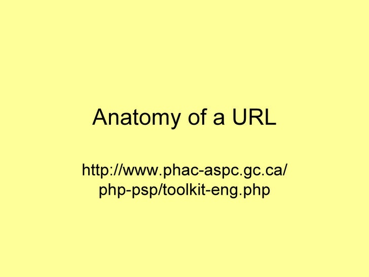 Anatomy of a URL http://www.phac-aspc.gc.ca/ php-psp/toolkit-eng.php