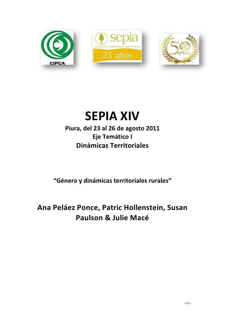 Género y dinámicas territoriales rurales. Por Peláez, Hollenstein, Paulson y Macé