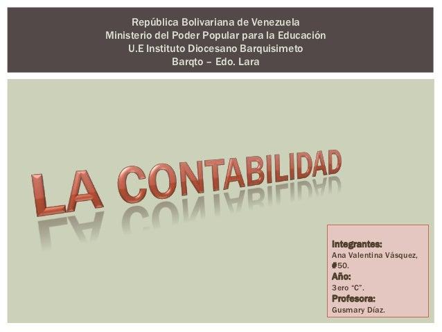República Bolivariana de VenezuelaMinisterio del Poder Popular para la Educación     U.E Instituto Diocesano Barquisimeto ...