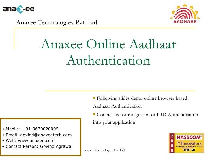 Anaxee UIDAI - Aadhaar Authentication Online