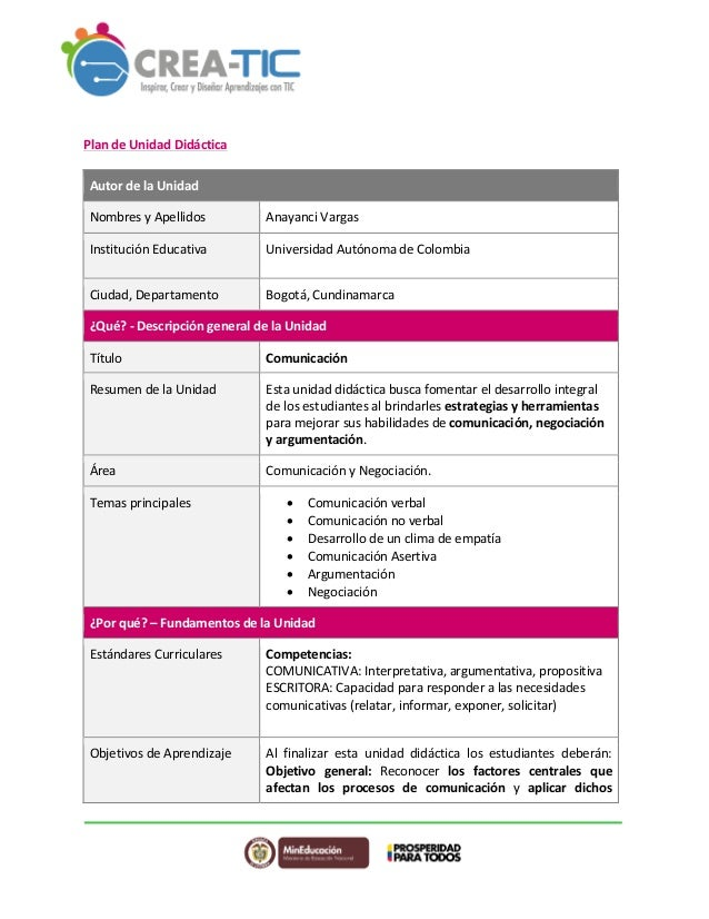 Plan  de  Unidad  Didáctica  Autor  de  la  Unidad  Nombres  y  Apellidos  Anayanci  Vargas  Institución  Educativa  Unive...