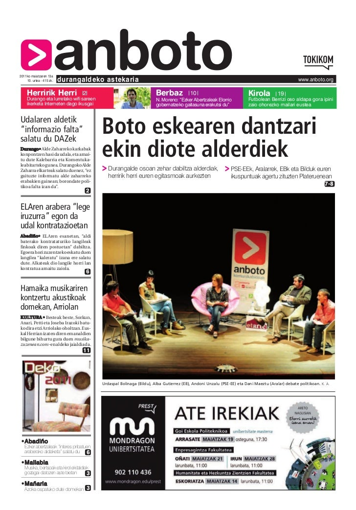 2011ko maiatzaren 13a    Herririk Herri                      anboto    10. urtea - 415 zk.   durangaldeko astekaria       ...