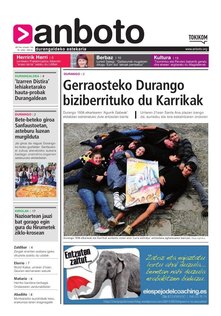 2011ko urriaren 14a Herririk Herri                    anboto  10. urtea - 432 zk.   durangaldeko astekaria                ...