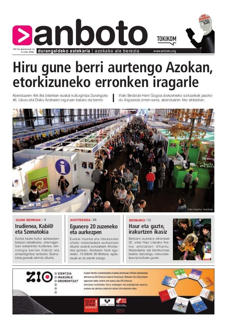 2011ko abenduaren 2a                     anboto        9. urtea- 439zk.   durangaldeko astekaria         azokako ale berez...