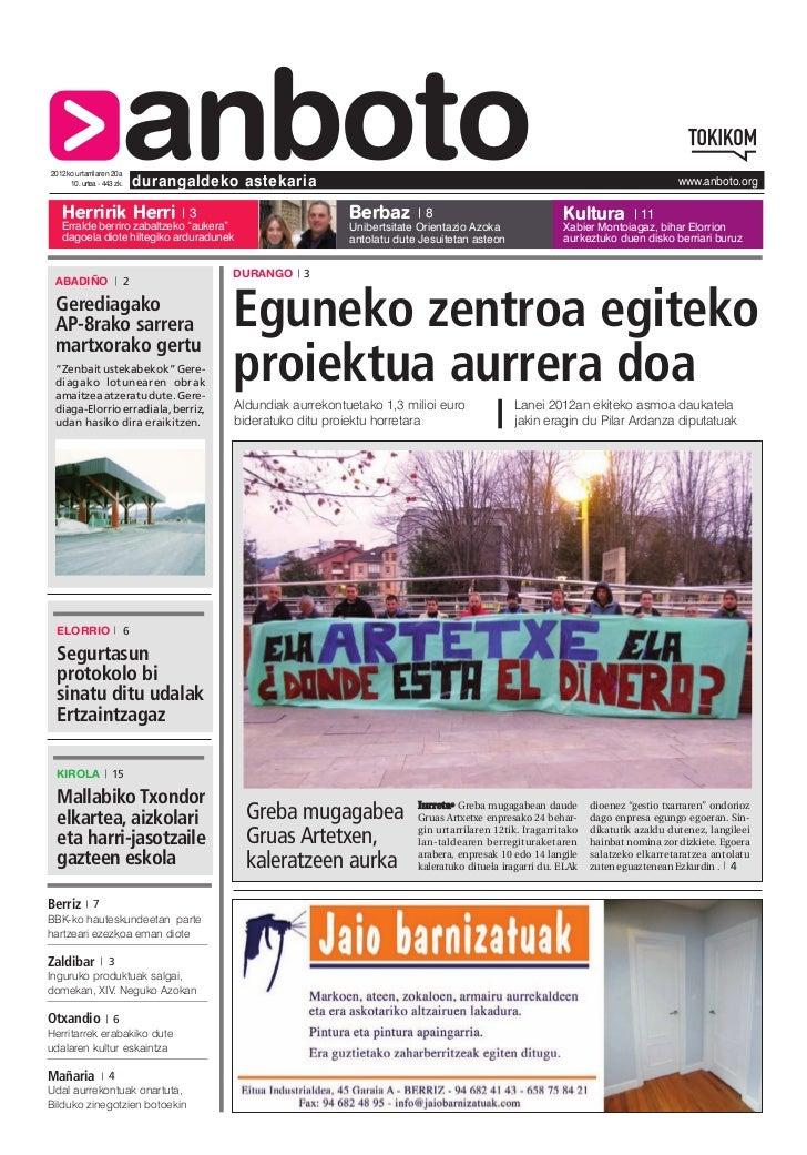 2012ko urtarrilaren 20a   Herririk Herri                       anboto     10. urtea - 443 zk.       durangaldeko astekaria...