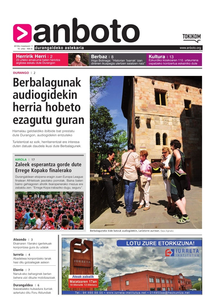 2012ko maiatzaren 11                     anboto    10. urtea - 458 zk.   Herririk Herri 2                          duranga...