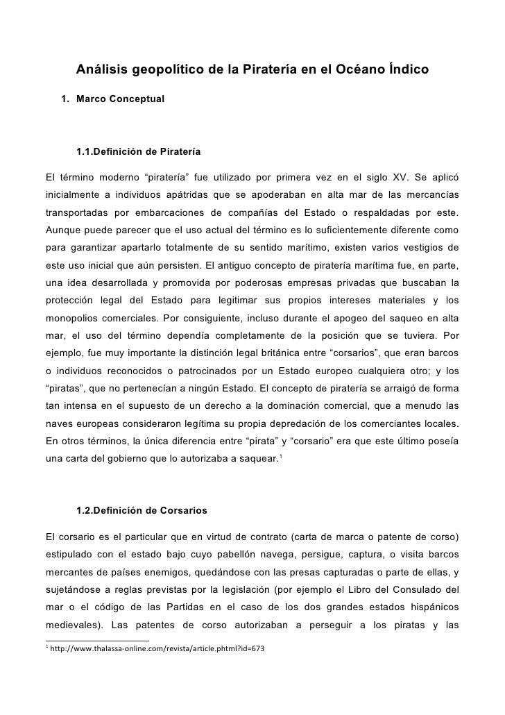 Análisis geopolítico de la Piratería en el Océano Índico        1. Marco Conceptual                1.1.Definición de Pirat...