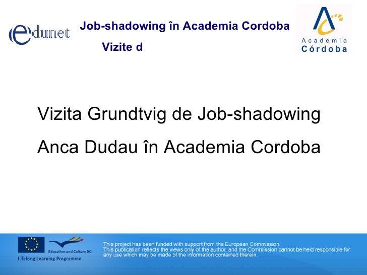Vizita Grundtvig de Job-shadowing Anca Dudau în Academia Cordoba