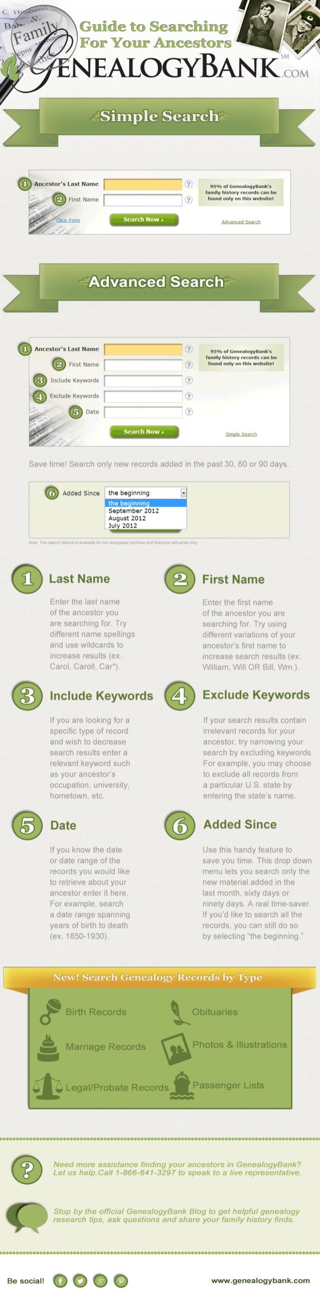 GenealogyBank Ancestor Search Guide Infographic
