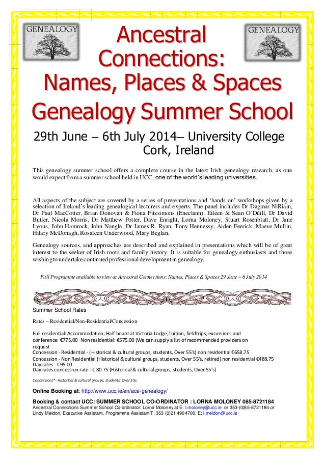 Ancestral Connections: Names, Places & Spaces Genealogy Summer School 29th June – 6th July 2014– University College Cork, ...