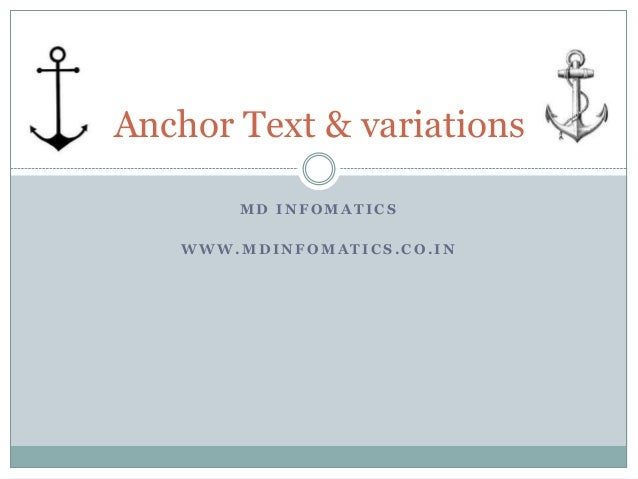 Anchor Text & variations MD INFOMATICS WWW.MDINFOMATICS.CO.IN
