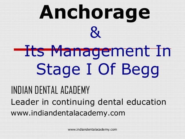Anchorage  & Its Management In Stage I Of Begg INDIAN DENTAL ACADEMY Leader in continuing dental education www.indiandenta...