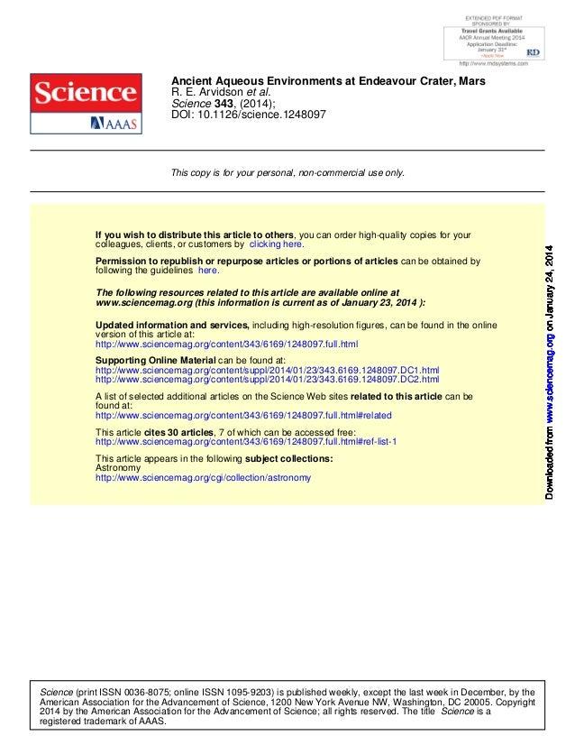 Ancient Aqueous Environments at Endeavour Crater, Mars R. E. Arvidson et al. Science 343, (2014); DOI: 10.1126/science.124...