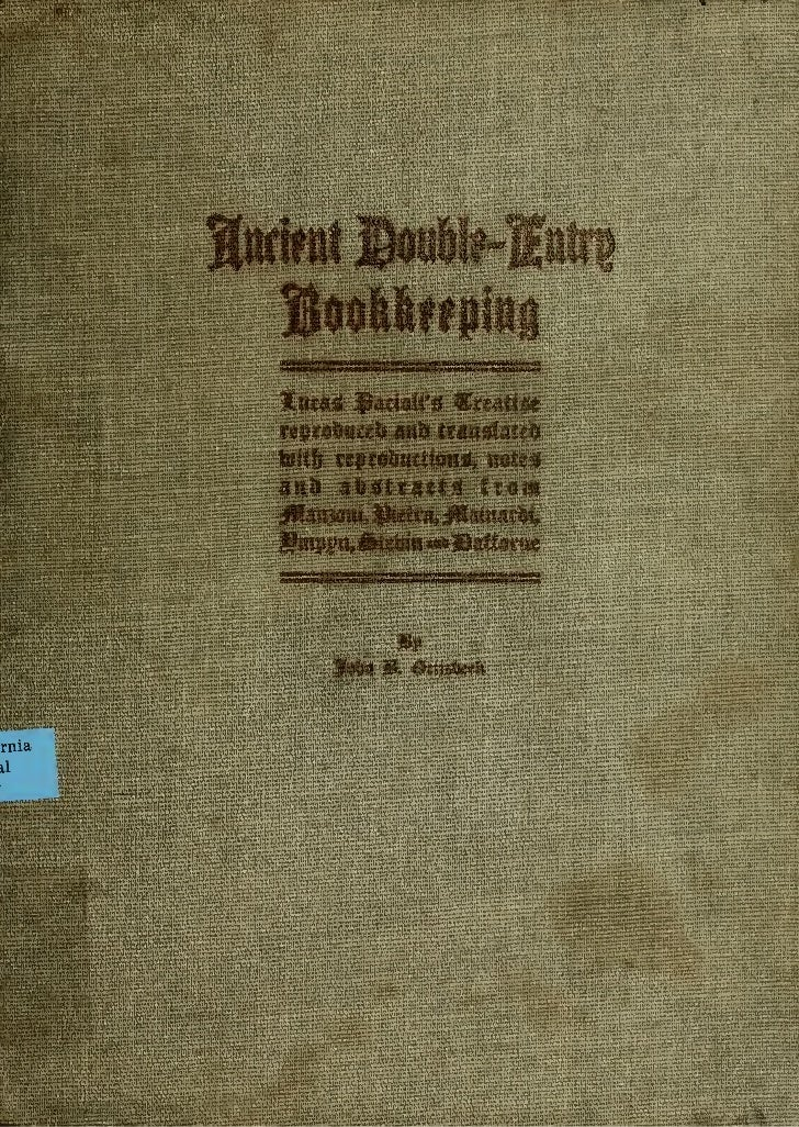 Ancient Double Entry Book Keeping