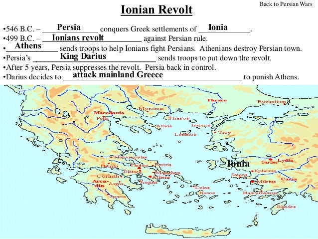 the ionian revolt The causes of the ionian revolt revolts had occurred in persian empire before, and when they occurred they were dealt with quickly and strongly.