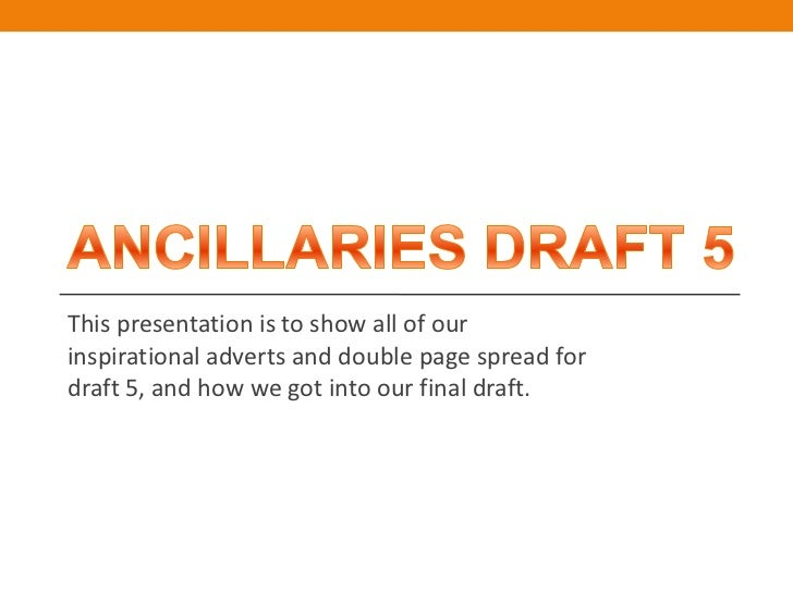 This presentation is to show all of ourinspirational adverts and double page spread fordraft 5, and how we got into our fi...