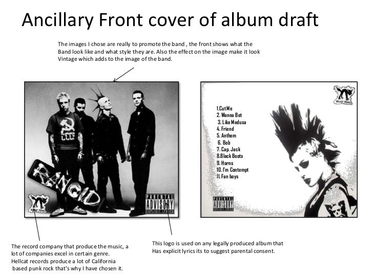 Ancillary Front cover of album draft                  The images I chose are really to promote the band , the front shows ...