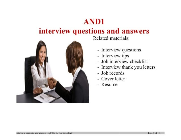And1 interview questions and answers