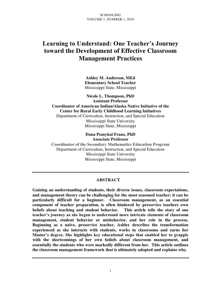 SCHOOLING                              VOLUME 1, NUMBER 1, 2010          Learning to Understand: One Teacher's Journey    ...