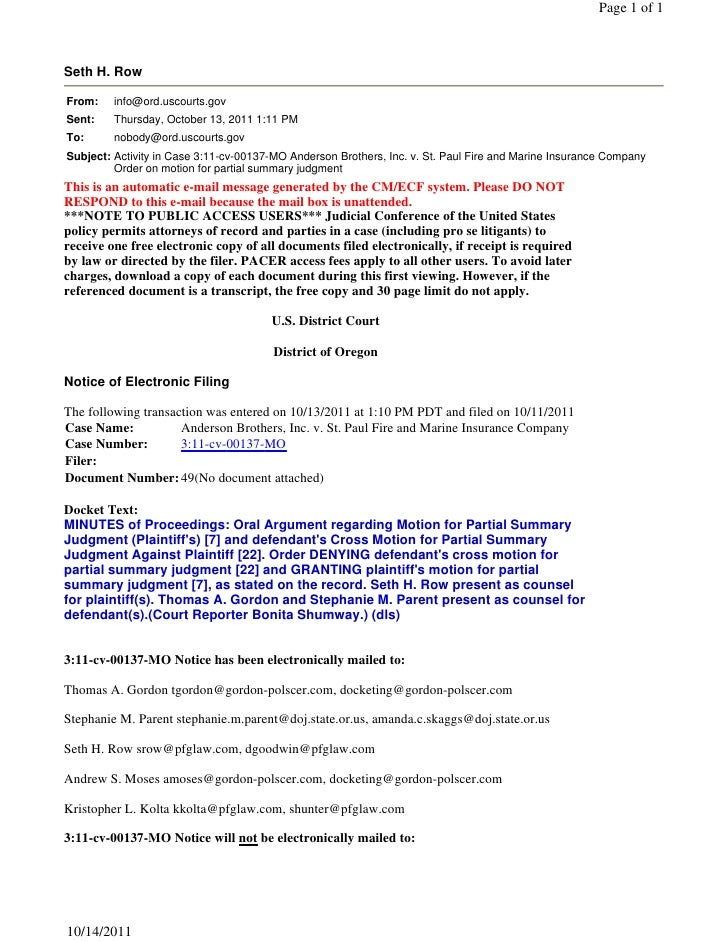 Page 1 of 1Seth H. RowFrom:    info@ord.uscourts.govSent:    Thursday, October 13, 2011 1:11 PMTo:      nobody@ord.uscourt...