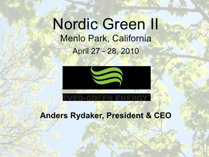 Evergreen Energy - Anders Rydaker - Evergreen Energy - April 2010