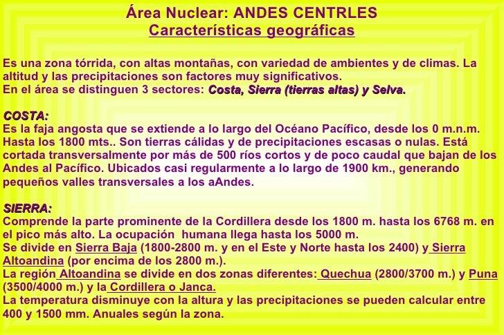 Andes Centrales Caracteristicas Geograficas