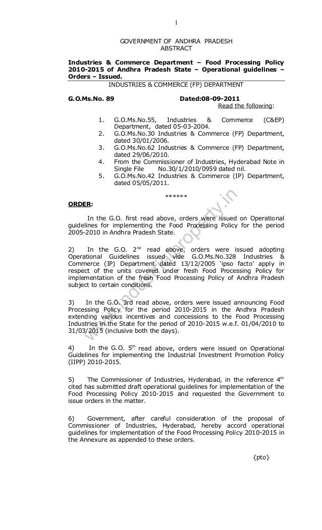 1 GOVERNMENT OF ANDHRA PRADESH ABSTRACT Industries & Commerce Department – Food Processing Policy 2010-2015 of Andhra Prad...