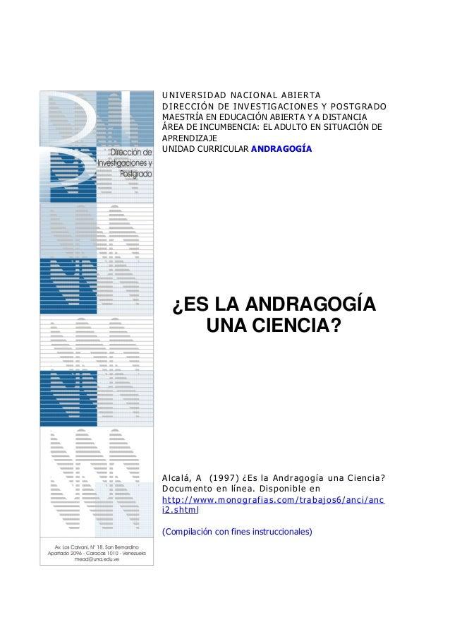UNIVERSIDAD NACIONAL ABIERTADIRECCIÓN DE INVESTIGACIONES Y POSTGRADOMAESTRÍA EN EDUCACIÓN ABIERTA Y A DISTANCIAÁREA DE INC...