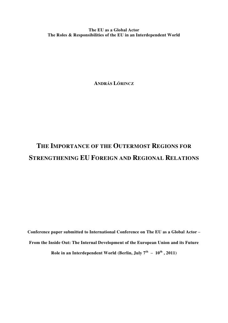 The EU as a Global Actor         The Roles & Responsibilities of the EU in an Interdependent World                        ...