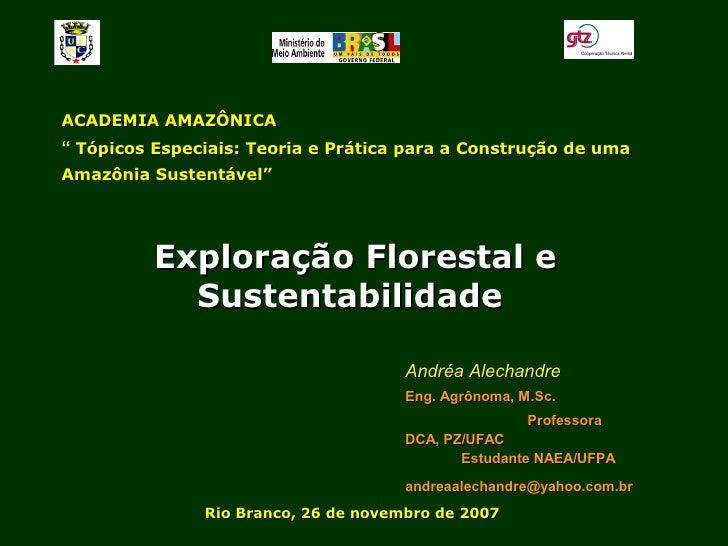 Exploração Florestal e Sustentabilidade - Andrea Alechandre