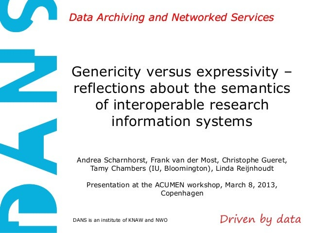 Data Archiving and Networked ServicesGenericity versus expressivity –reflections about the semantics    of interoperable r...