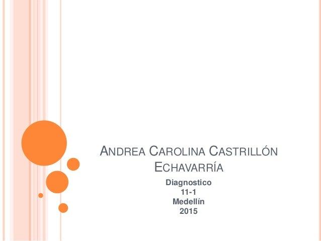 ANDREA CAROLINA CASTRILLÓN ECHAVARRÍA Diagnostico 11-1 Medellín 2015