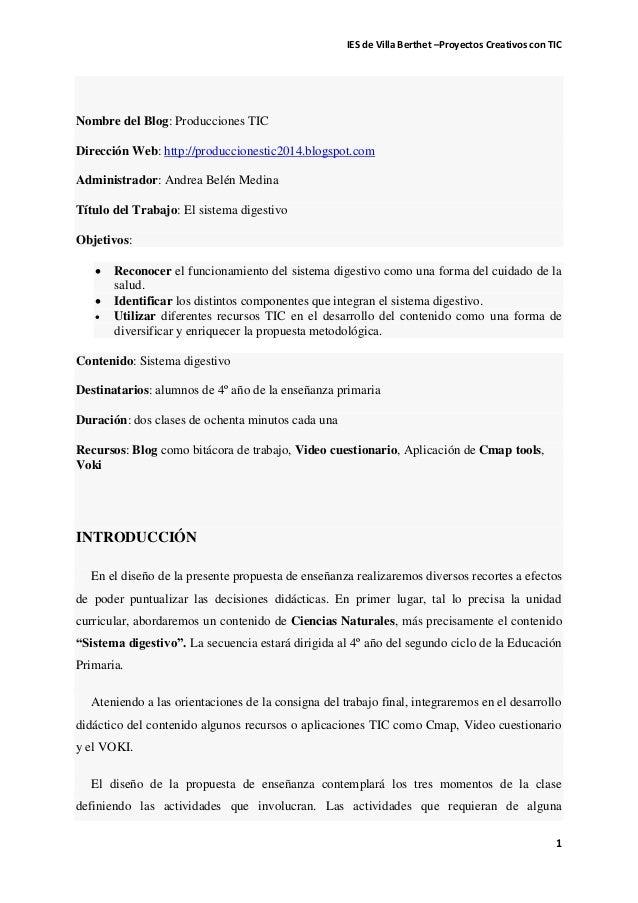 IES de Villa Berthet –Proyectos Creativos con TIC  1  Nombre del Blog: Producciones TIC Dirección Web: http://producciones...
