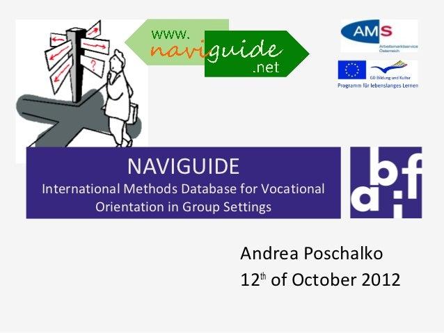 NAVIGUIDEInternational Methods Database for Vocational         Orientation in Group Settings                              ...