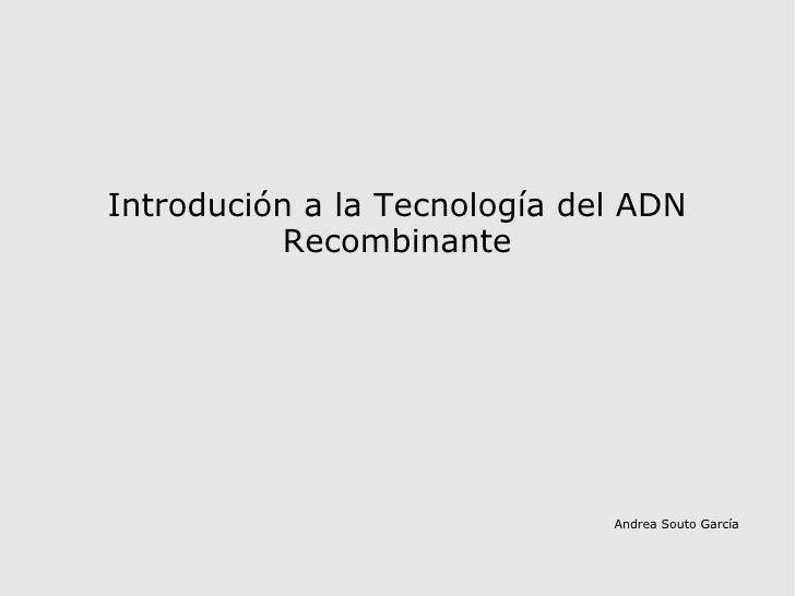 Andrea Souto García Introdución a la Tecnología del ADN Recombinante