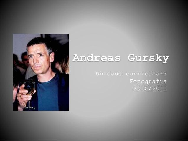 Andreas Gursky Unidade curricular: Fotografia 2010/2011