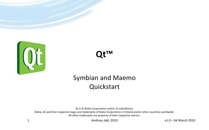 Andreas Jakl, Qt Symbian Maemo Quickstart