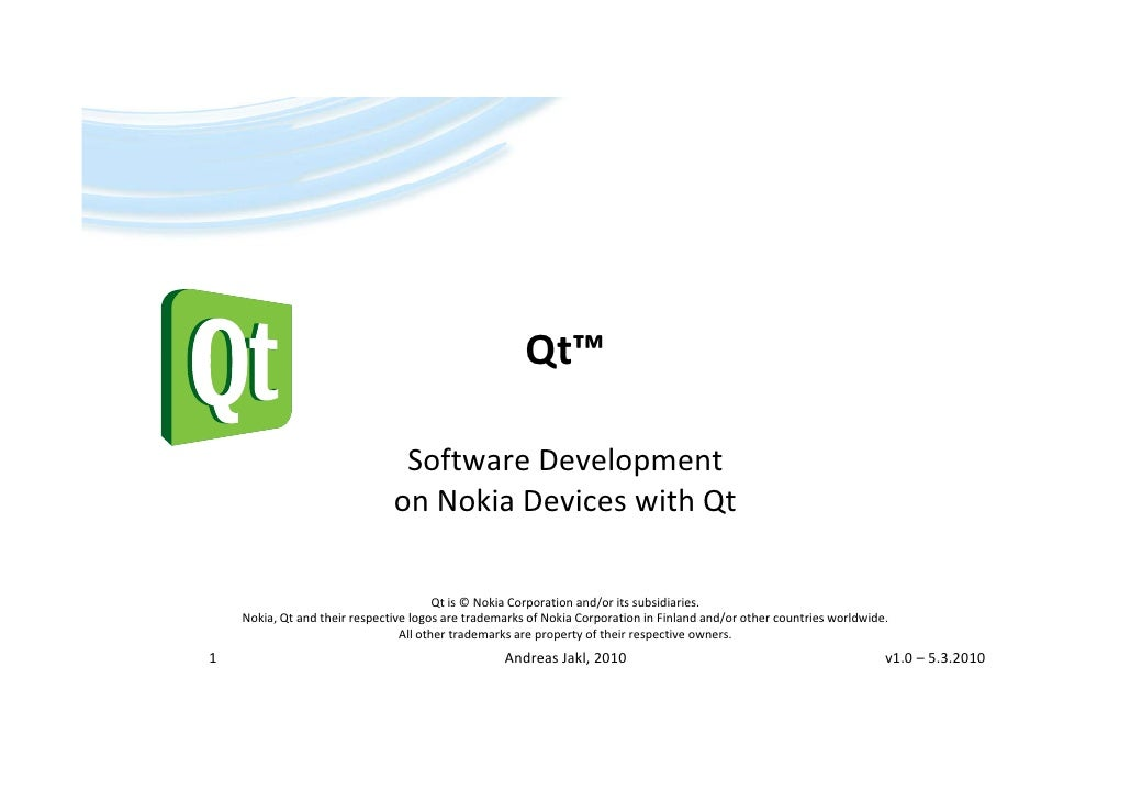 Andreas Jakl Software Development on Nokia Deviceswith Qt