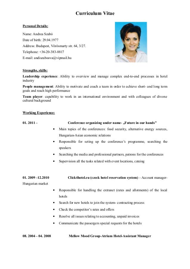 writing a cv in english