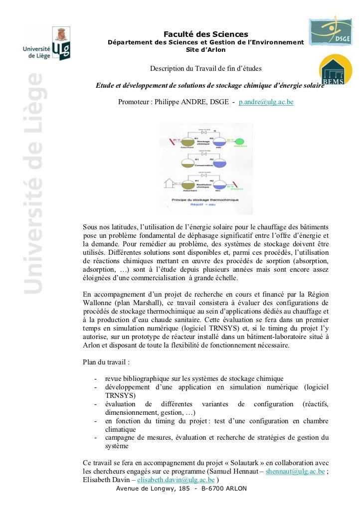 Faculté des Sciences        Département des Sciences et Gestion de l'Environnement                             Site d'Arlo...