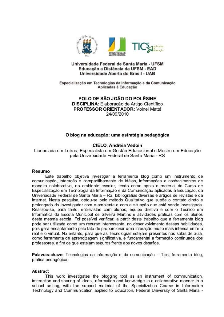 POLO DE SÃO JOÃO DO POLÊSINE                     DISCIPLINA: Elaboração de Artigo Científico                     PROFESSOR...