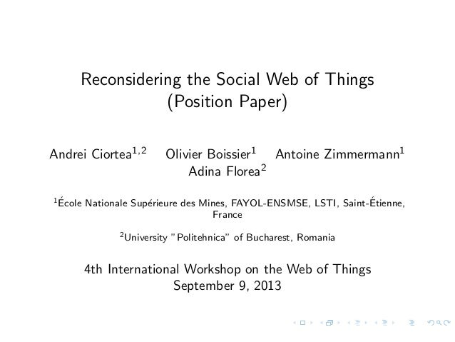 Reconsidering the Social Web of Things (Position Paper)