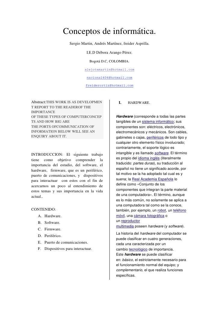 Conceptos de informática.                      Sergio Martin, Andrés Martínez, freider Asprilla.                          ...