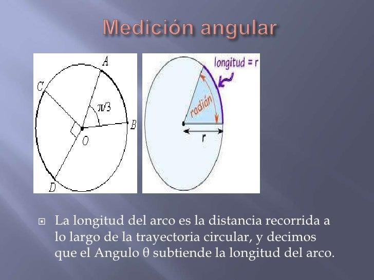    La longitud del arco es la distancia recorrida a    lo largo de la trayectoria circular, y decimos    que el Angulo θ ...