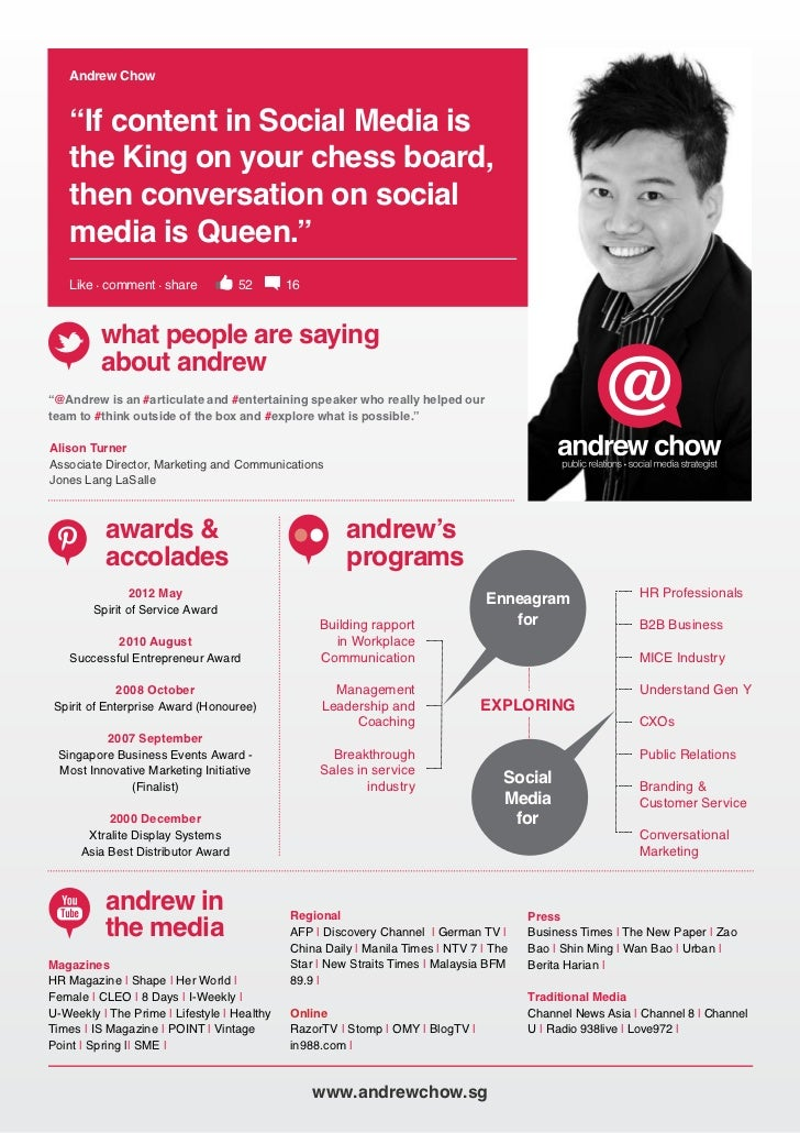 "Andrew Chow shared some insight    Andrew Chow    ""If content in Social Media is    the King on your chess board,    then ..."