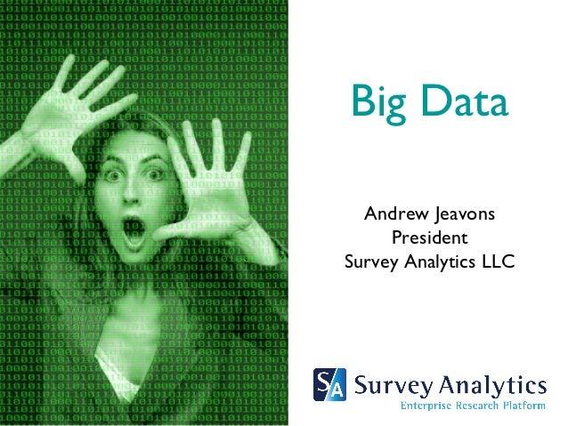 Big Data  Andrew Jeavons     PresidentSurvey Analytics LLC