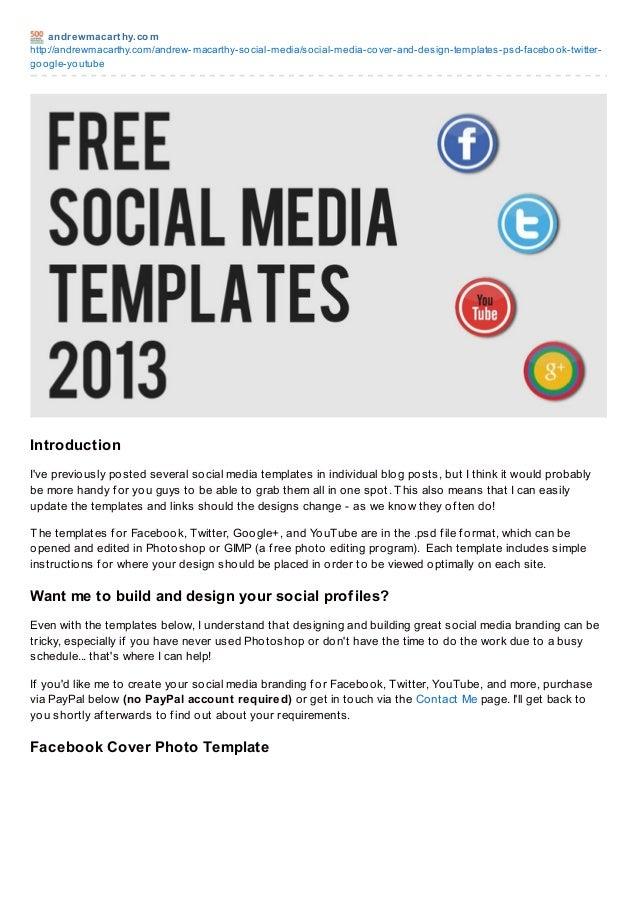 Social Media Templates 2013 Free PSD | Facebook, Twitter, Google Plus, YouTube