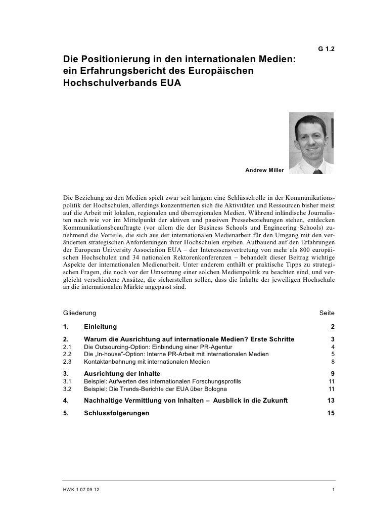 G 1.2 Die Positionierung in den internationalen Medien: ein Erfahrungsbericht des Europäischen Hochschulverbands EUA      ...