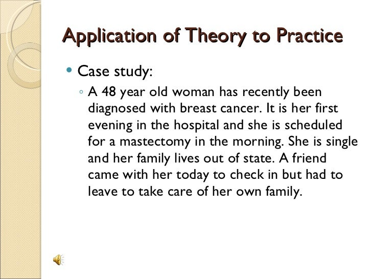 application watson theory Nr501applicationofnursingtheory - running head nr501  this paper will involve a discussion of the application of dr jean watson's theory of human caring towards .