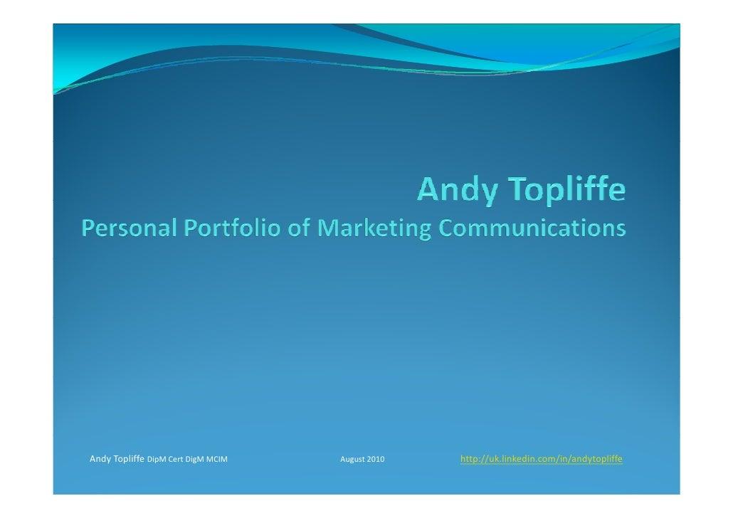 Andrew Topliffe Portfolio August 2010